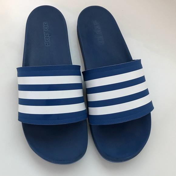 adidas blue slides size 13
